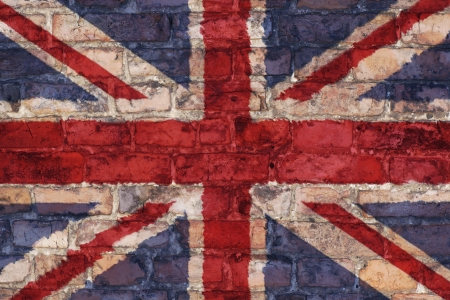 Uk flag graphic on brick background Stock Photo