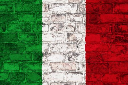 flag of italy graphic on brick background Stock Photo
