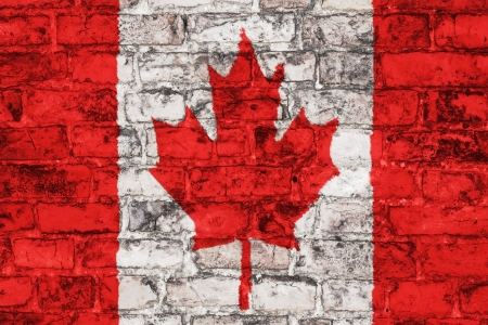 Canadian flag graphic on brick wall background