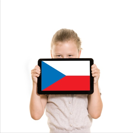 czech republic flag on a tablet computer held by young girl
