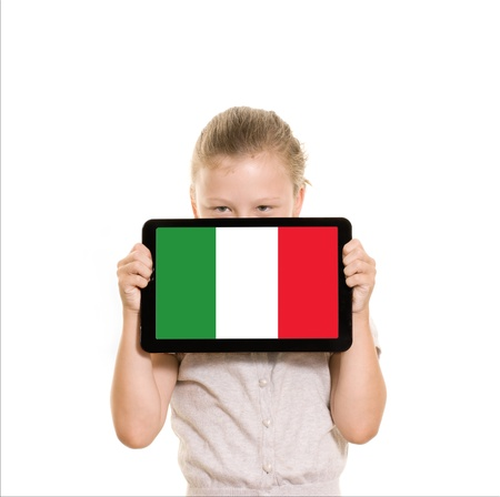 flag of Italy displayed on tablet computer held by young girl Stock Photo