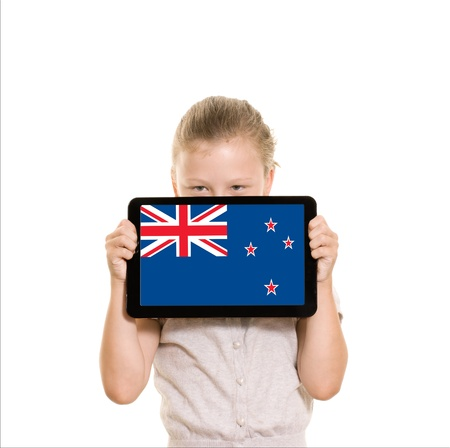 New Zealand flag graphic on tablet computer
