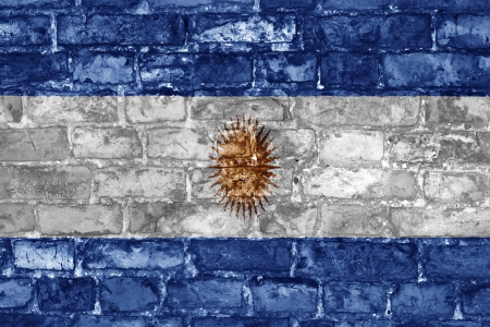 Grunge style wall with Argentinian flag graphic