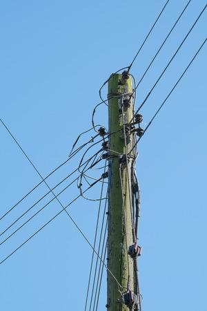 telegraaf: houten telegraaf paal met telefoondraden verbonden