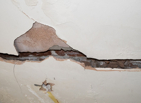 plasterboard: badly cracked plasterboard on interior wall showing bricks behind
