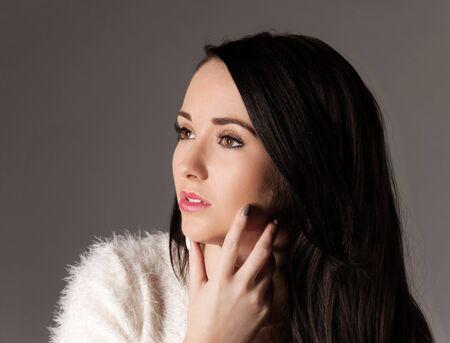 pretty woman with long dark hair