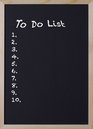 blackboard with an item to do list for ten items Stock Photo