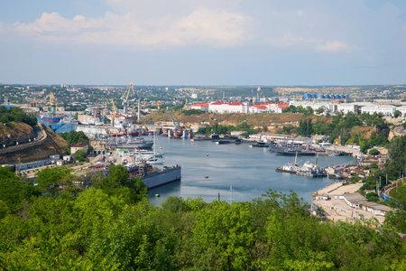 bay city: SEVASTOPOL, UKRAINE - JUNE 10, 2013: View of the South Bay city of Sevastopol july day Editorial
