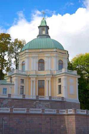 in september: Church pavilion Big Menshikov Palace september day. Oranienbaum, Russia Editorial