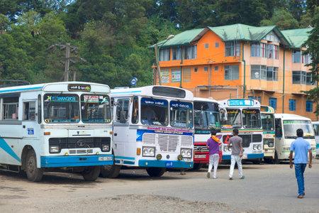 bus station: NUWARA ELIYA, SRI LANKA - MARCH 18, 2015: The bus station in Nuwara Eliya
