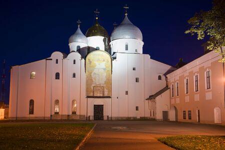 veliky: Saint Sophia Cathedral at night in october. Veliky Novgorod, Russia