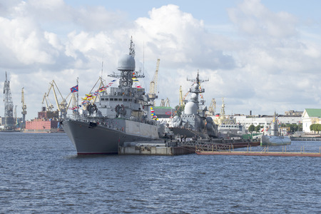 anti season: ST. PETERSBURG, RUSSIA - JULY 25, 2015: The ships of the Baltic fleet of the Russian Navy in celebration of Navy Day
