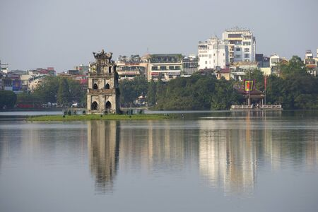 returned: HANOI, VIETNAM - DECEMBER 13, 2015: The tower and the temple on the Lake, Central Hanoi