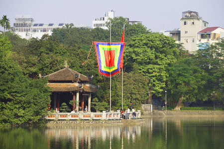returned: HANOI, VIETNAM - DECEMBER 13, 2015: The temple on the lake, Central Hanoi Editorial