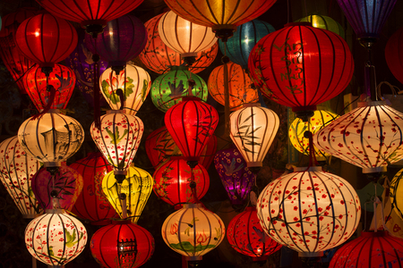 stylize: Chinese lamps in the bench of the city of Hoi An. Vietnam Stock Photo