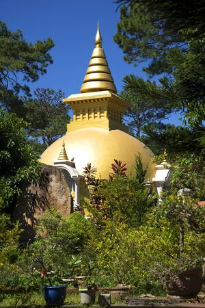 dalat: Buddhist stupa in the monastery Dienbien in the vicinity of Dalat. Vietnam Stock Photo