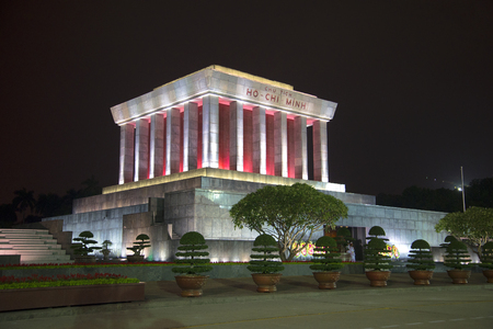 ba: HANOI, VIETNAM - JANUARY 09, 2016: View of the Ho Chi Minh mausoleum at Ba Dinh square in the late evening Editorial