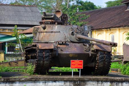 hue: HUE, VIETNAM - JANUARY 08, 2016: Shot down an American tank M 48 in Hue City Museum