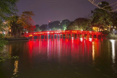 returned: HANOI, VIETNAM - JANUARY 09, 2016: Bridge of the Rising Sun in the night illumination. Landmark in the heart of Hanoi