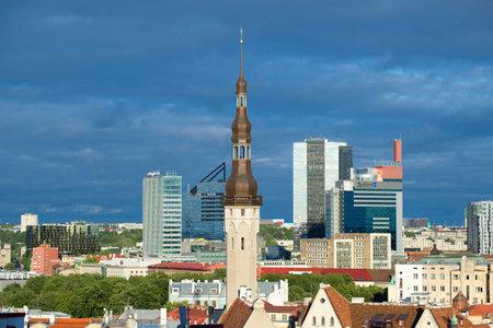 thomas: TALLINN, ESTONIA - JULY 31, 2015: The spire of the old town hall Old Thomas on the background