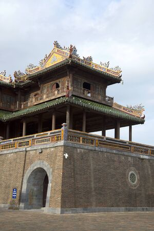 hue: The right wing of the gate of the Forbidden city. Hue, Vietnam Stock Photo