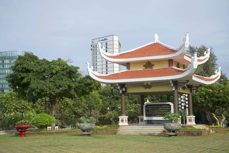 december 21: VUNG TAU, VIETNAM - DECEMBER 21, 2015: Gazebo Pagoda with a quote from the writings of Ho Chi Minh. Pantheon Ho Chi Minh to Vung Tau
