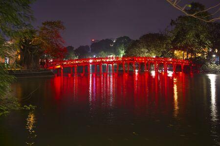 cau: Bridge Cau Thehook in night illumination. Hanoi