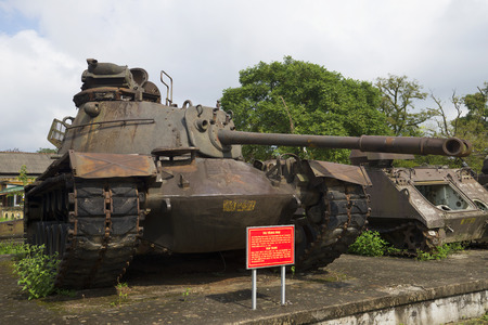 hue: HUE, VIETNAM - JANUARY 08, 2016: American tank M-48 in the exposition of military equipment. Hue