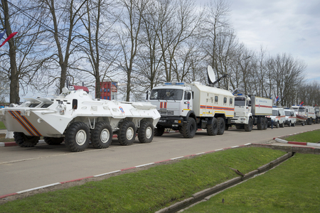 operational: ST. PETERSBURG, RUSSIA - MAY 05, 2015: Column operational transport 346 Nevsky rescue center EMERCOM of Russia