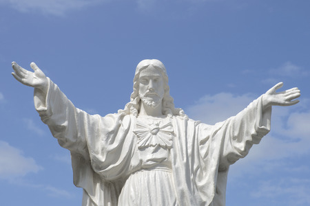 jesus statue: The sculpture of Christ at the entrance to the Cathedral of Nha Trang. Vietnam