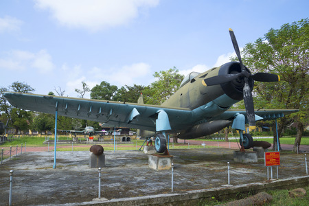 douglas: HUE, VIETNAM - JANUARY 08, 2016: American fighter AD-6 Douglas A-1 Skyraider in the Museum of Hue city