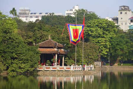 returned: HANOI, VIETNAM - DECEMBER 13, 2015: Jade temple on the Hoan Kiem lake in the historical center of Hanoi