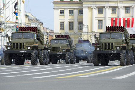 convoy: ST. PETERSBURG, RUSSIA - MAY 05, 2015: A convoy of rocket launchers of volley fire BM-21-1 Grad on rehearsal of parade in honor of Victory Day