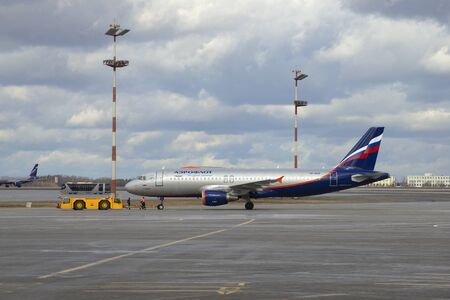 april 15: MOSCOW, RUSSIA - APRIL 15, 2015: Airbus A320 Airplane Khabarov VP-BZP Aeroflot before departure. Sheremetyevo airport