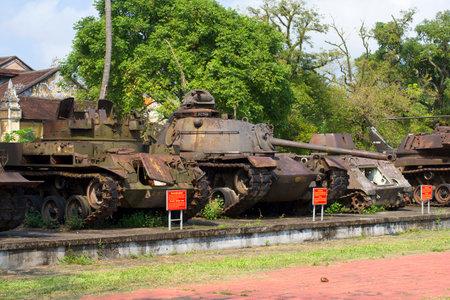 hue: HUE, VIETNAM - JANUARY 08, 2016: Trophy American technique the period of the Vietnam War in Hue City Museum. Vietnam Editorial