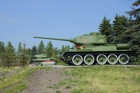 t34: ST. PETERSBURG, RUSSIA - JUNE 29, 2015: Two T-34-85 stand at the memorial Pulkovo abroad, landmark of the Great Patriotic War
