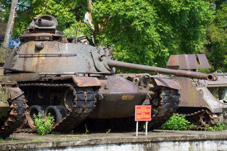hue: HUE, VIETNAM - JANUARY 08, 2016: American medium tank M48 Patton III in hue. Party Vietnam war Editorial