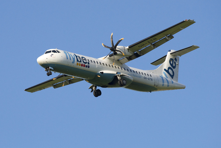 turboprop: ST. PETERSBURG, RUSSIA - JULY 24, 2015: The aircraft ATR 72-500 (OH-ATN) company Flybe Nordic before landing at the airport Pulkovo Editorial