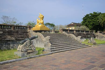 hue: The sculpture Golden dragon on the terrace of the Forbidden city. Hue, Vietnam Stock Photo