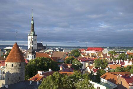 tallin: Old city under a low cloudy sky. Tallinn, Estonia