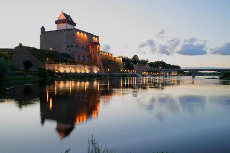 herman: View of Castle Herman white summer night. Narva, Estonia