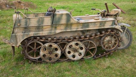 wehrmacht: LENINGRAD REGION, RUSSIA - MAY 05, 2015: German half-track motorcycle towing SD KFZ-2 (Kettenkrad HK 101) during World War II Editorial