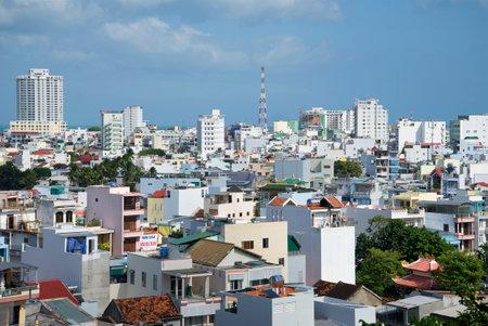sean: NHA TRANG, VIETNAM - JANUARY 01, 2016: Urban landscape of Nha Trang. View from the terrace of the temple Sean Long
