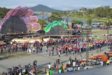dalat: DALAT, VIETNAM - DECEMBER 26, 2015: Rehearsal for the annual festival of flowers in Dalat