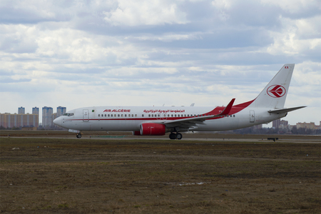 boeing: MOSCOW, RUSSIA - APRIL 15, 2015: The Boeing 737-800 (7T-VKA) Air Algerie after landing at Sheremetyevo airport