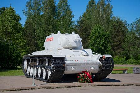 blockade: LENINGRAD REGION, RUSSIA - JUNE 08, 2015: Tank KV-1 Leningrad in winter, installed in the Museum-diorama break of Leningrad blockade