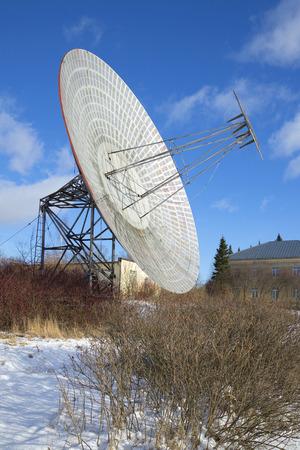 radio telescope: Plate radio telescope at Pulkovo Observatory sunny february afternoon. Saint-Petersburg, Russia
