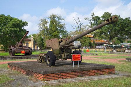 hue: HUE, VIETNAM - JANUARY 08, 2016: American 122-mm gun in Hue