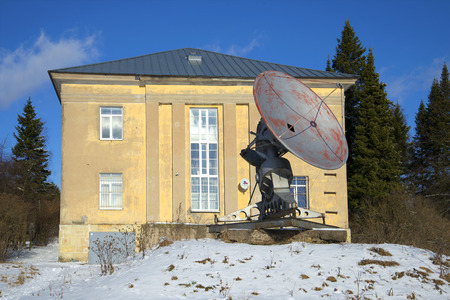 radio telescope: ST. PETERSBURG, RUSSIA - FEBRUARY 17, 2016: Small radio telescope at the building of the special astrophysical Observatory of the Russian Academy of Sciences. Pulkovo Observatory