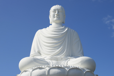 sean: Giant sculpture white Buddha, pagoda in Long Sean closeup. Nha Trang, Vietnam Stock Photo